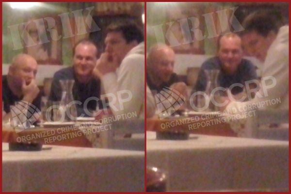 Photos sent in by a reader of Zvonko Veselinović (left) in a friendly restaurant meeting with Andrej Vučić (right). The identity of the man in the middle is unknown.
