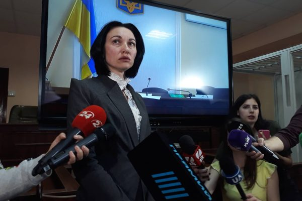 Elena Tanesevic, Chairperson of the Ukraine's new Supreme Anti-Corruption Court speaking to reporters