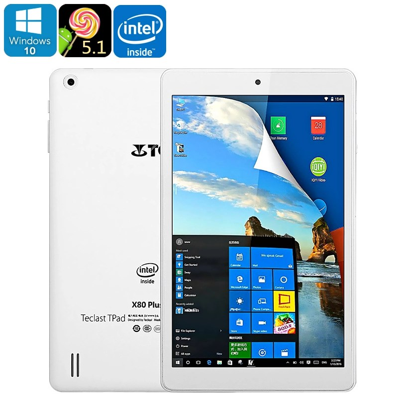 Teclast X80 Plus Tablet PC - Windows 10, Android 5.1, Quad-Core CPU, Google Play, HDMI Out, 8-Inch Display, 2GB RAM