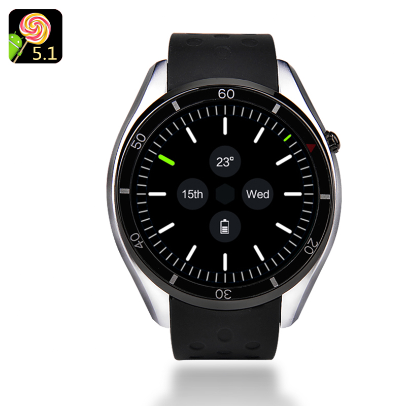 IQI I3 Android Smartwatch - Quad-Core CPU, 4GB Memory, 1.39-Inch Display, 3G, Pedometer, Heart Rate Sensor, Google Play (Silver)