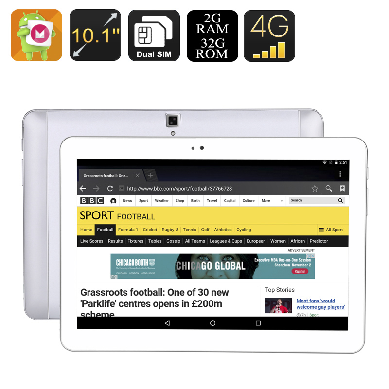10.1 Inch Android Tablet - Android 6.0, 4G, OTG, Dual-IMEI, 32GB Memory, Quad-Core CPU, 2GB RAM, 4500mAh