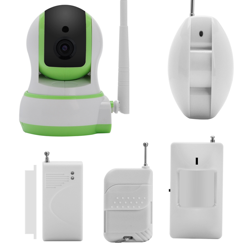 Wi-Fi IP Camera + Home Alarm System - 1/4 Inch Pan Tilt Camera, 2x Door Sensor, 2 x PIR, Android + iOS App, Remote Controlls