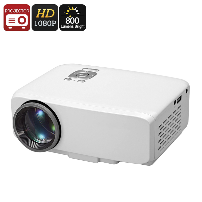 GP9S Mini Projector - 150 Inch Image, 800 Lumens, 600:1 Contrast, 800x480 Pixel, 1080P Support, AV-IN, USB, HDMI, VGA, SD Card