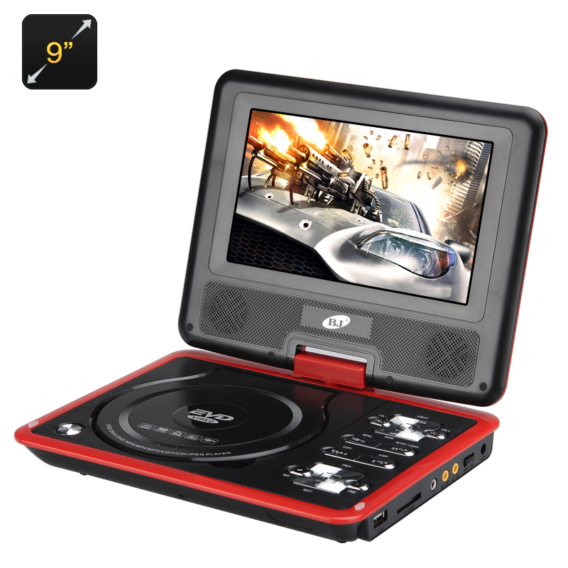 9 Inch Region Free Portable DVD Player - 270 Swivel Screen, 1280x800 Resolution, Hitachi Lens, SD Card slot