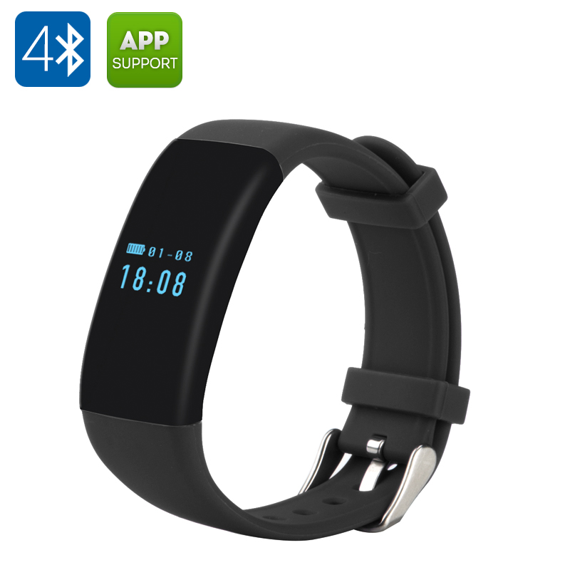 DFit Smart Sports Bracelet - BT 4.0, IP66 Waterproof, Pedometer, Heart Rate Monitor, Sleep Monitor, Call Reminder (Black)