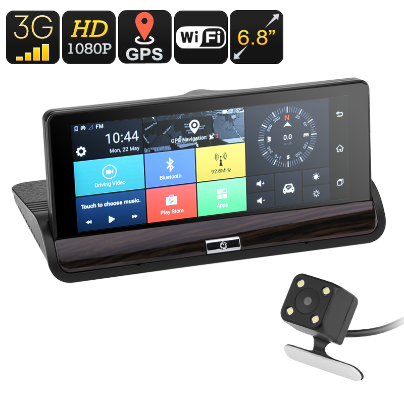 Android Car DVR System - 6.8 Inch Touch Screen, Dual-Camera, Android 5.0, 3G Support, WiFi, Google Play, GPS, G-Sensor