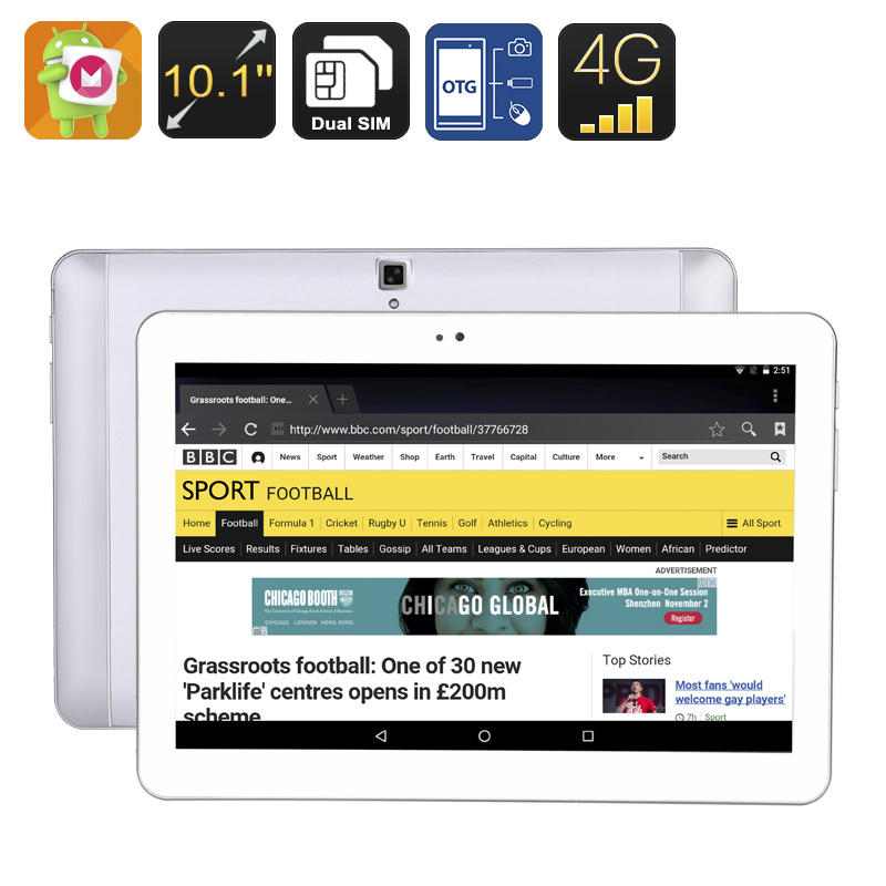 4G Android Tablet PC - 10.1 Inch IPS Screen, Quad Core CPU, Android 6.0 OS, OTG, 4500mAh Battery