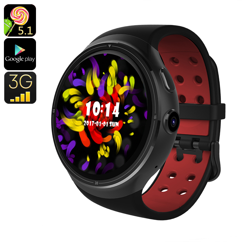 Z10 Android Smart Watch - Android 5.1, 3G SIM, Quad Core CPU, Google Play, OK Google, Bluetooth, 16GB Memeory (Black)