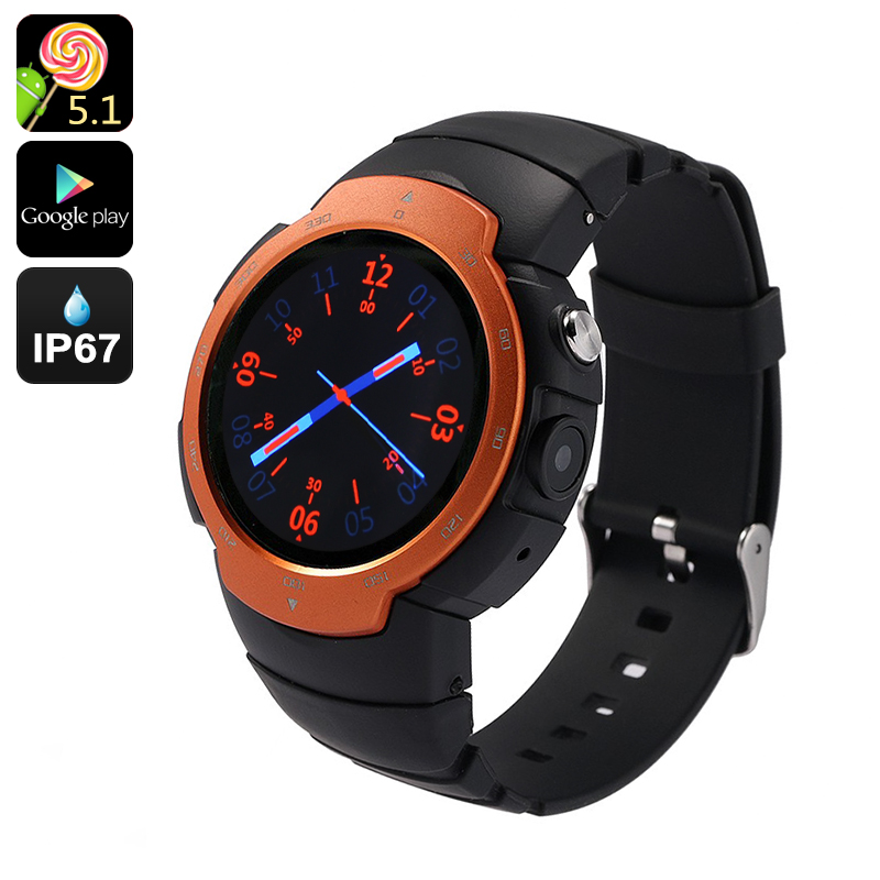 Android Phone Watch 'Z9' - Android 5.1, Google Play, IP67, GSM + 3G, 5MP Camera, GPS Support, Heart Rate Monitor (Orange)