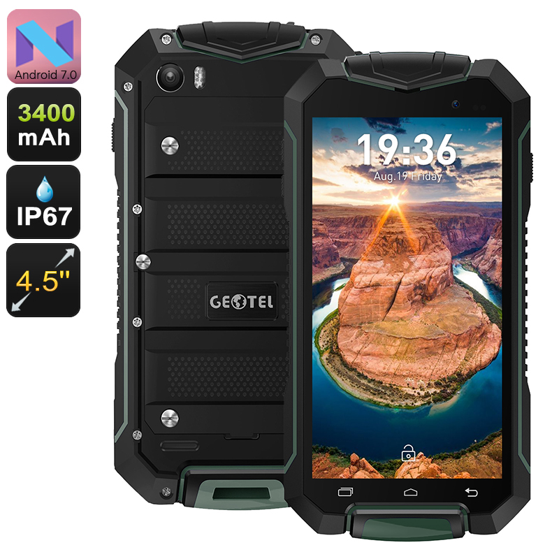 Geotel A1 Rugged Smartphone - Android 7.0, Quad-Core CPU, 8MP Camera, Dual-IMEI, IP67, 4.5-Inch Display, 3400mAh (Green)