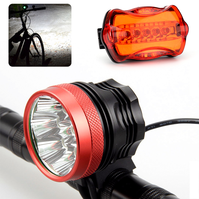 CREE XM-L T6 LED Bike Light Set - 15000 Lumen, Front And Rear Light, Quick Fitting, Head Strap, Rechargeable Battery