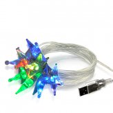 Crystal Sparkling Color Stars - USB Holiday LED Lights