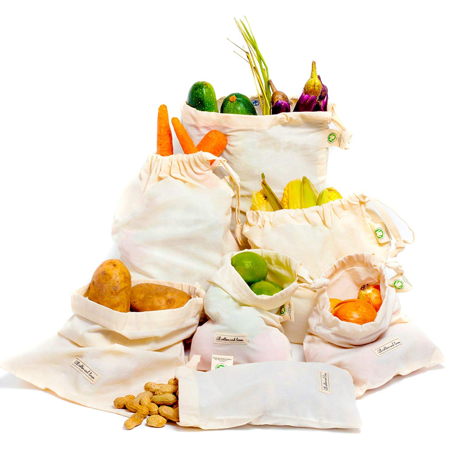 All Cotton and Linen Reusable Mesh Produce Bags