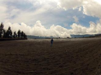 Sea of Sand. You have to cross this black, misty sandy plains to get to the crater.