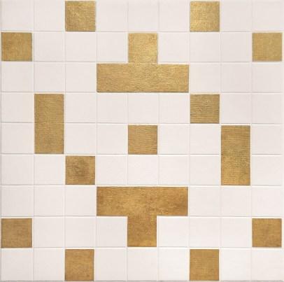 da série Cruzada (2), 2011, 0,80x0,80 cm, acrílico e folhas de ouro sobre tela sobre madeira em relevo