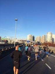 Running across the Georgia Viaduct, beside Rogers Arena. I love my city!