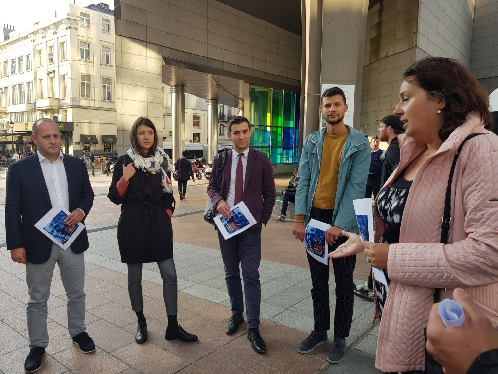 Two events: one inside, another outside the European Parliament