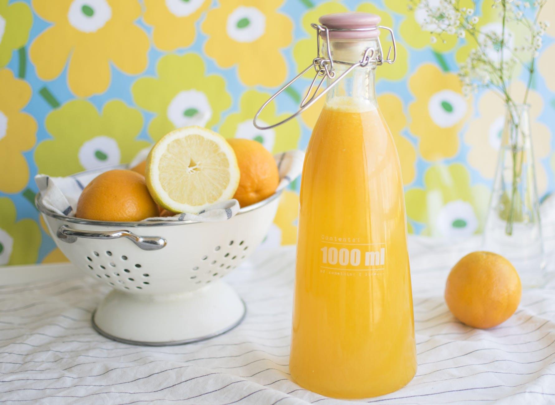 bottle close up fresh fruits