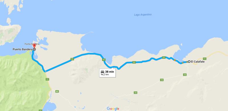 Mapa Puerto Bandera - Parque Nacional Los Glaciares - Rios de Hielo - El Calafate Argentina