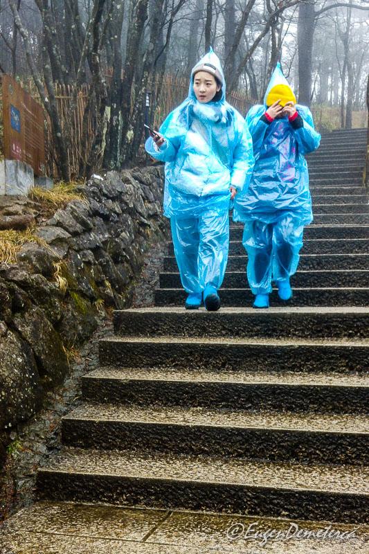 Turisti cu pelerine de ploaie la Huangshan