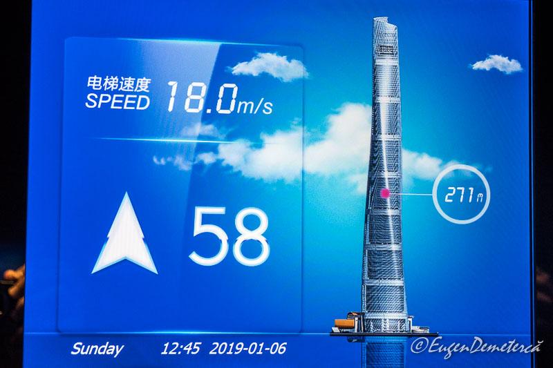 Liftul din Shanghai Tower cu 18 m/s