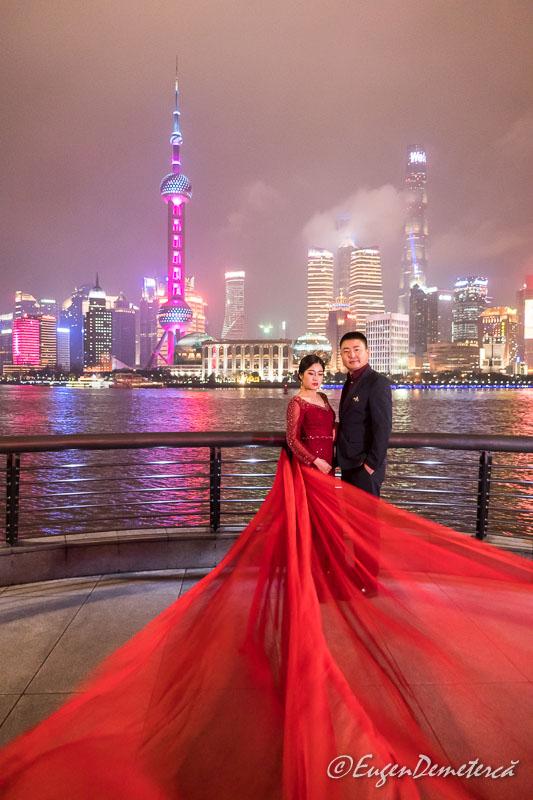 Shanghai - fotografie de nunta noaptea pe Bund