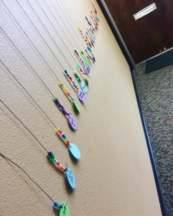 Each participating student has their own bead chain hanging in the studio's welcome room
