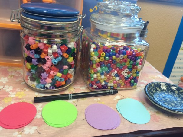Practice challenge bead jars and name tags