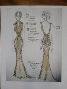gold, tan chiffon and black embroidery