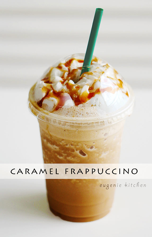 Starbucks iced caramel Frappuccino for your coffee fix. Make your own caramel Frappuccino at home! Eugenie Kitchen
