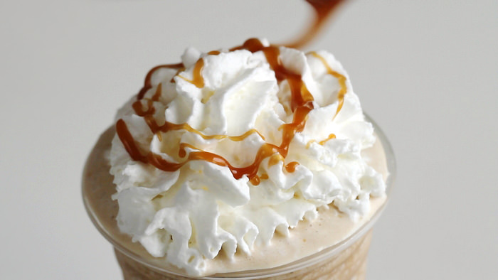 Dairy whip whipped cream and caramel drizzle for Frappe