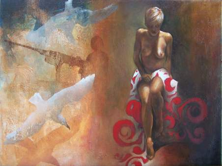 """Weltsmertz - war"" 40x30 cm, oil on canvas, 2011."