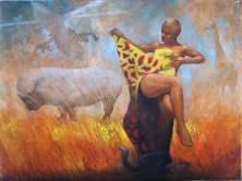 """Weltsmertz - Congo"" 40x30 cm, oil on canvas, 2011."