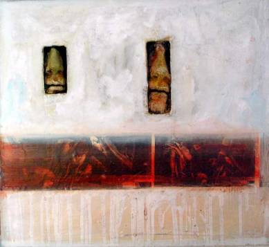 Room, 60x60 cm, combined technique on wood, 2002.
