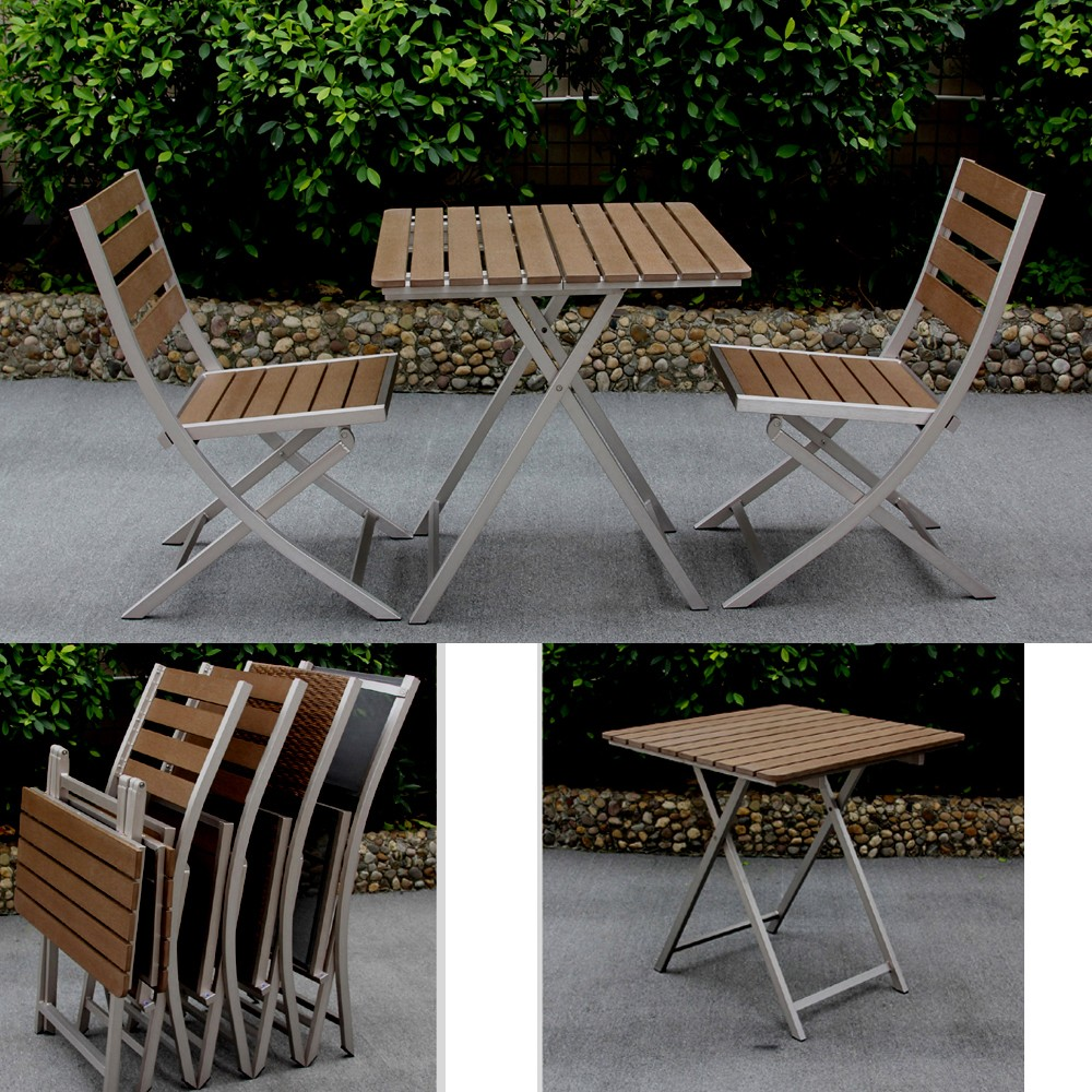 Uv Anti Portable Plastic Wood Garden Set For Picnic Table Set Furniture Balcony Outdoor Fold Table Set For 2 Chairs