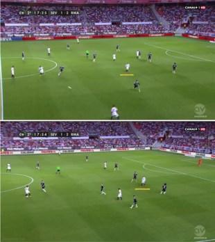 Dos instantáneas de Vidal apareciendo por dentro: arriba moviéndose entre líneas, y abajo prácticamente en la posición de un delantero centro.