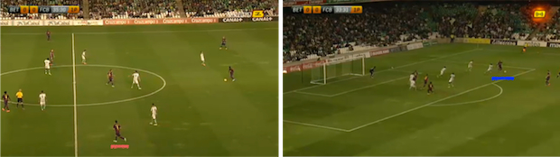 A la izquierda, la posición cerrada de Grimaldo; a la derecha, tres rematadores acompañando, en el área, una jugada de banda de Adama.