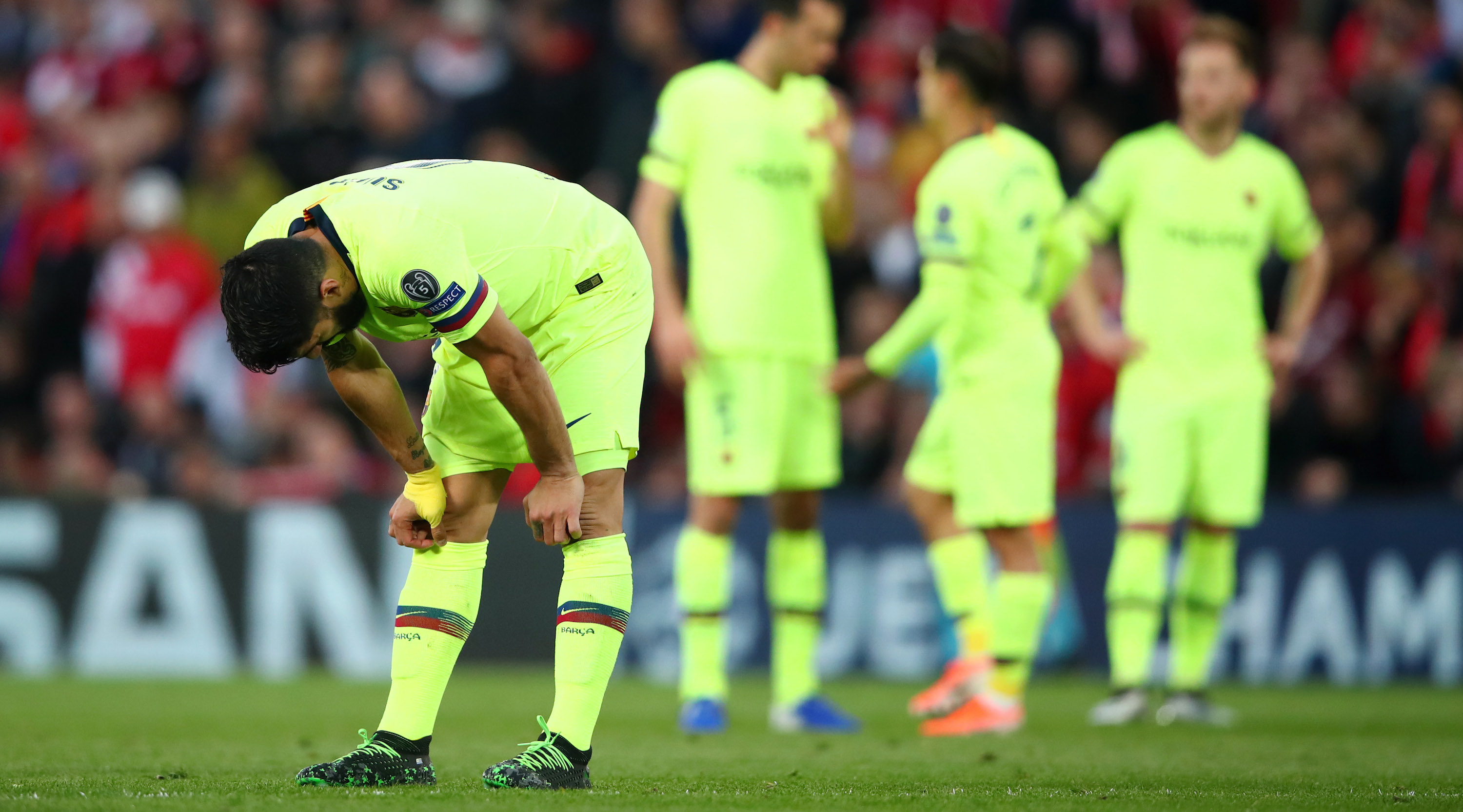 LIVERPOOL, ENGLAND - MAY 07: Luis Suarez of Barcelona reacts during the UEFA Champions League Semi Final second leg match between Liverpool and Barcelona at Anfield on May 07, 2019 in Liverpool, England. (Photo by Clive Brunskill/Getty Images)