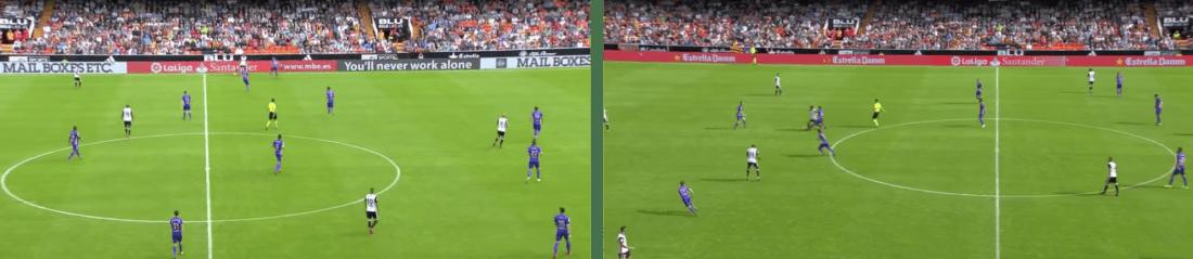 - A la izquierda, el Leganés defendiendo al rival en banda. A la derecha, su presión sobre el poseedor del balón. -