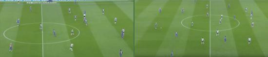 - A la izquierda la soledad de paulinho en el segundo peldaño, y a la derecha la triple mediapunta que dibujaron Dembélé, Messi e Iniesta. -