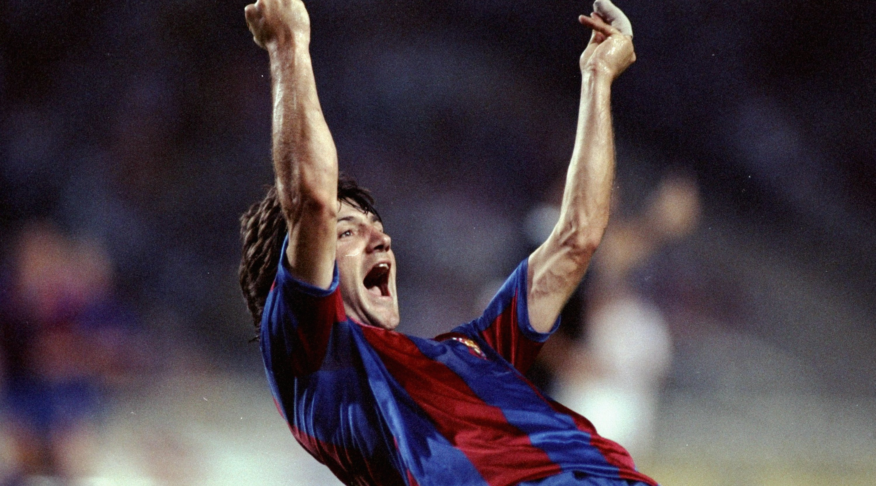 Undated: Jose Maria Bakero of Barcelona celebrates during a match against Spartak Moscow at the Camp Nou Stadium in Barcelona, Spain. Barcelona won the match 1-0. Mandatory Credit: Simon Bruty/Allsport
