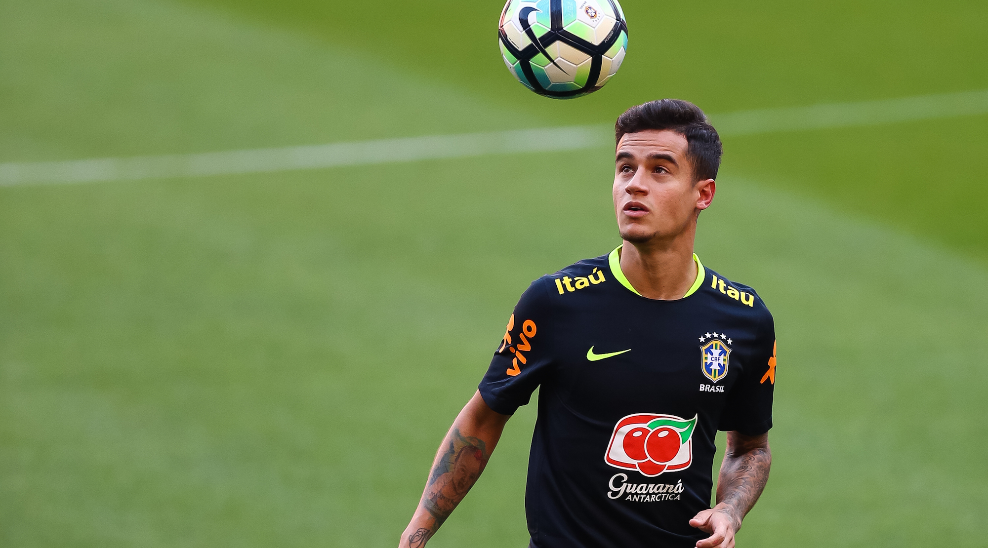 PORTO ALEGRE, BRAZIL - AUGUST 29: Philippe Coutinho takes part in a training session at the Beira Rio Stadium on August 29, 2017 in Porto Alegre, Brazil, ahead of their 2018 FIFA World Cup qualifier match against Ecuador on August 31. (Photo by Buda Mendes/Getty Images)