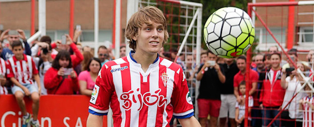 Alen Halilovic en su presentación con el Sporting de Gijón.