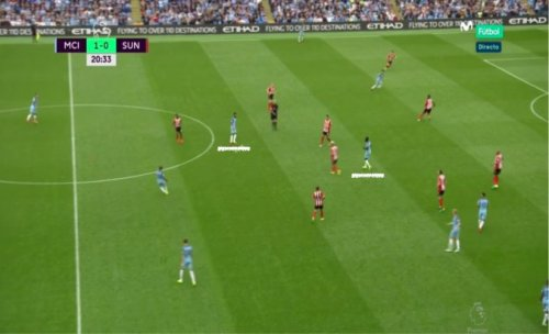Posición de Sagna y Clichy en el debut del City de Guardiola en la Premier League.