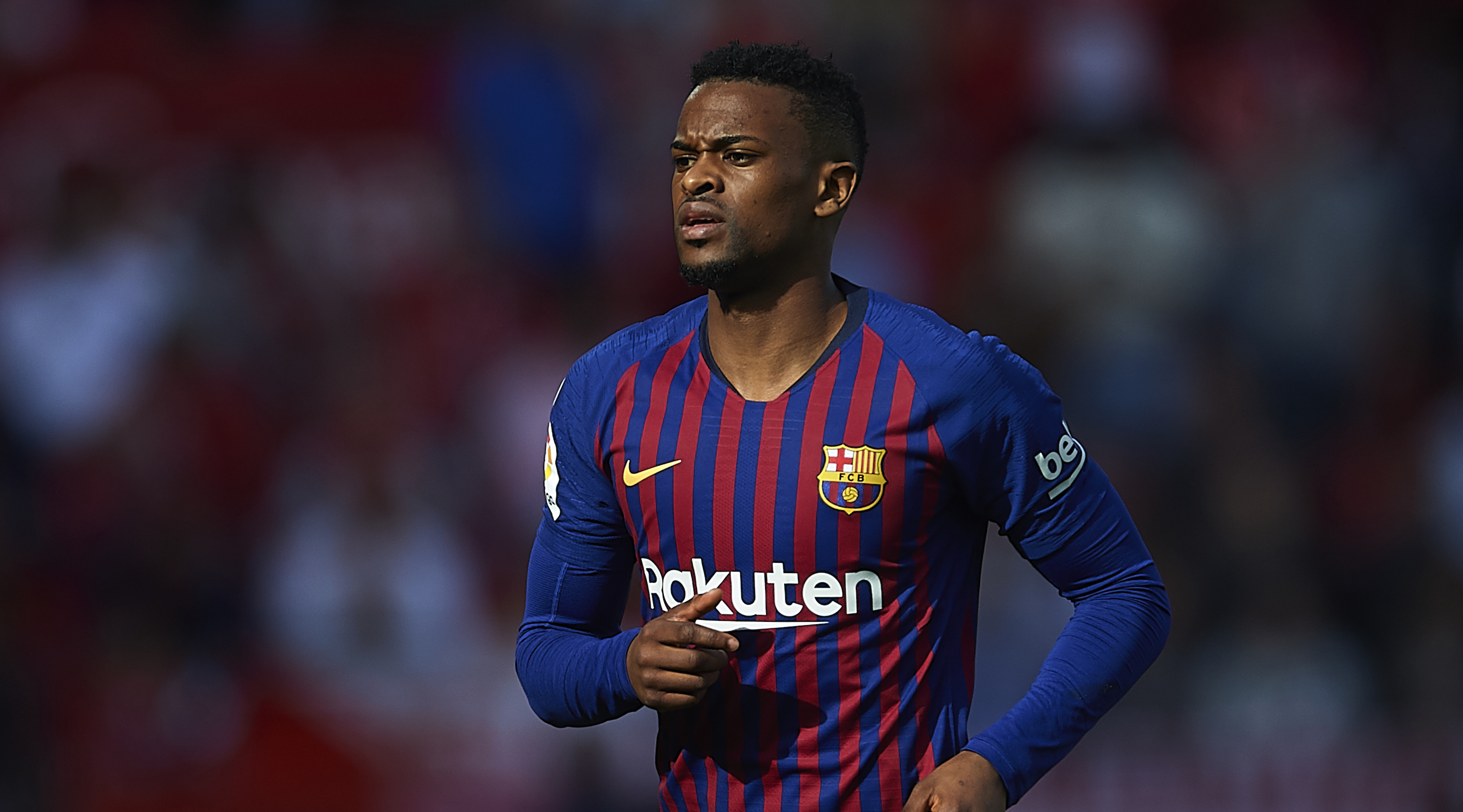 Nelson Semedo of FC Barcelona looks on during the La Liga match between Sevilla FC and FC Barcelona at Estadio Ramon Sanchez Pizjuan on February 23, 2019 in Seville, Spain. (Photo by Aitor Alcalde/Getty Images)