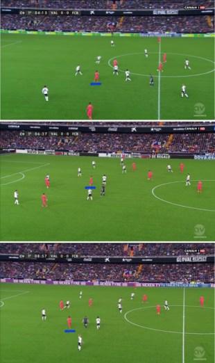 Xavi situado a la espalda de Dani Parejo en tres momentos distintos del tramo inicial de partido.