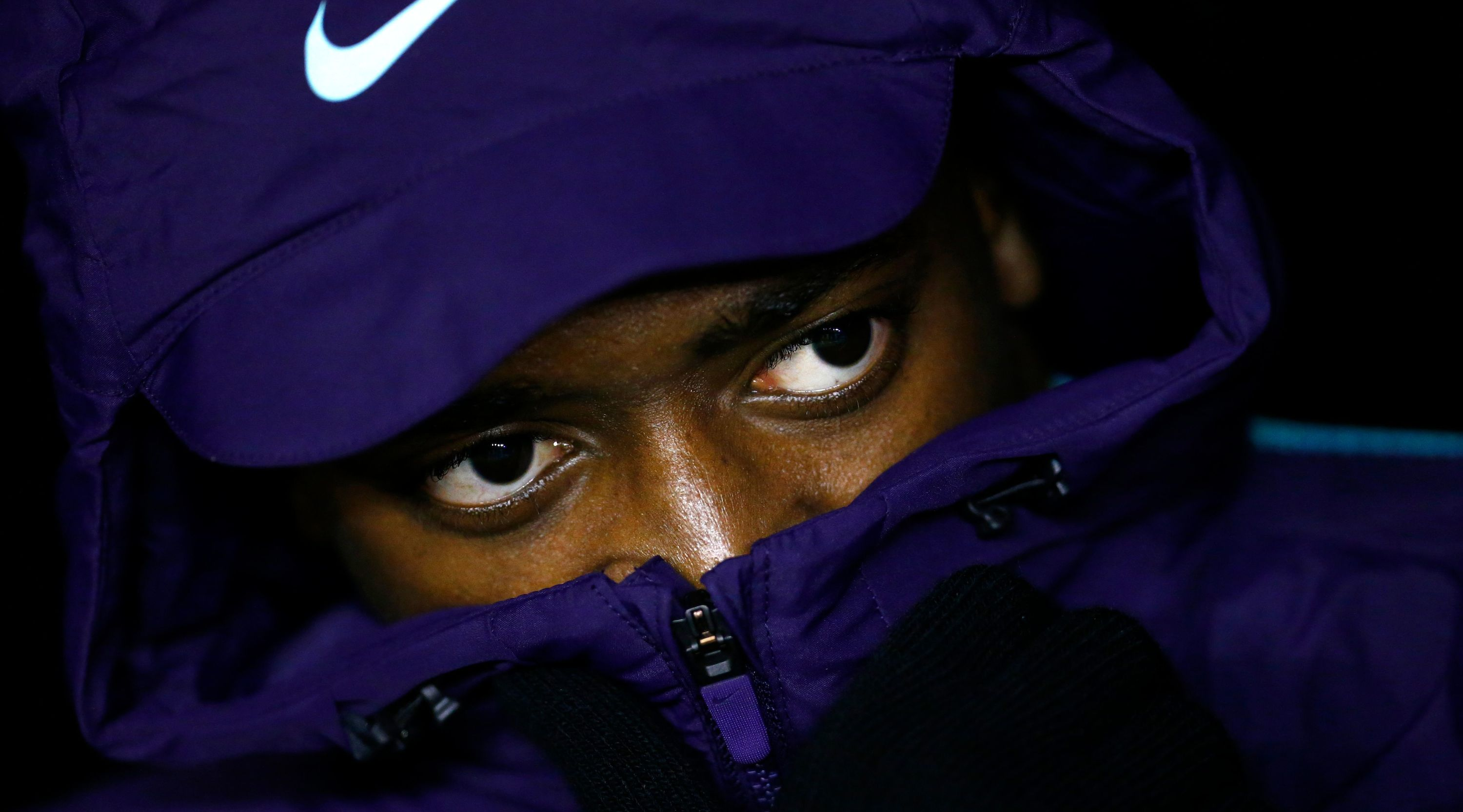 Barcelona's French forward Ousmane Dembele sits on the bench during the Spanish league football match between Rayo Vallecano de Madrid and FC Barcelona at the Vallecas stadium in Madrid on November 3, 2018. (Photo by BENJAMIN CREMEL / AFP) (Photo credit should read BENJAMIN CREMEL/AFP/Getty Images)