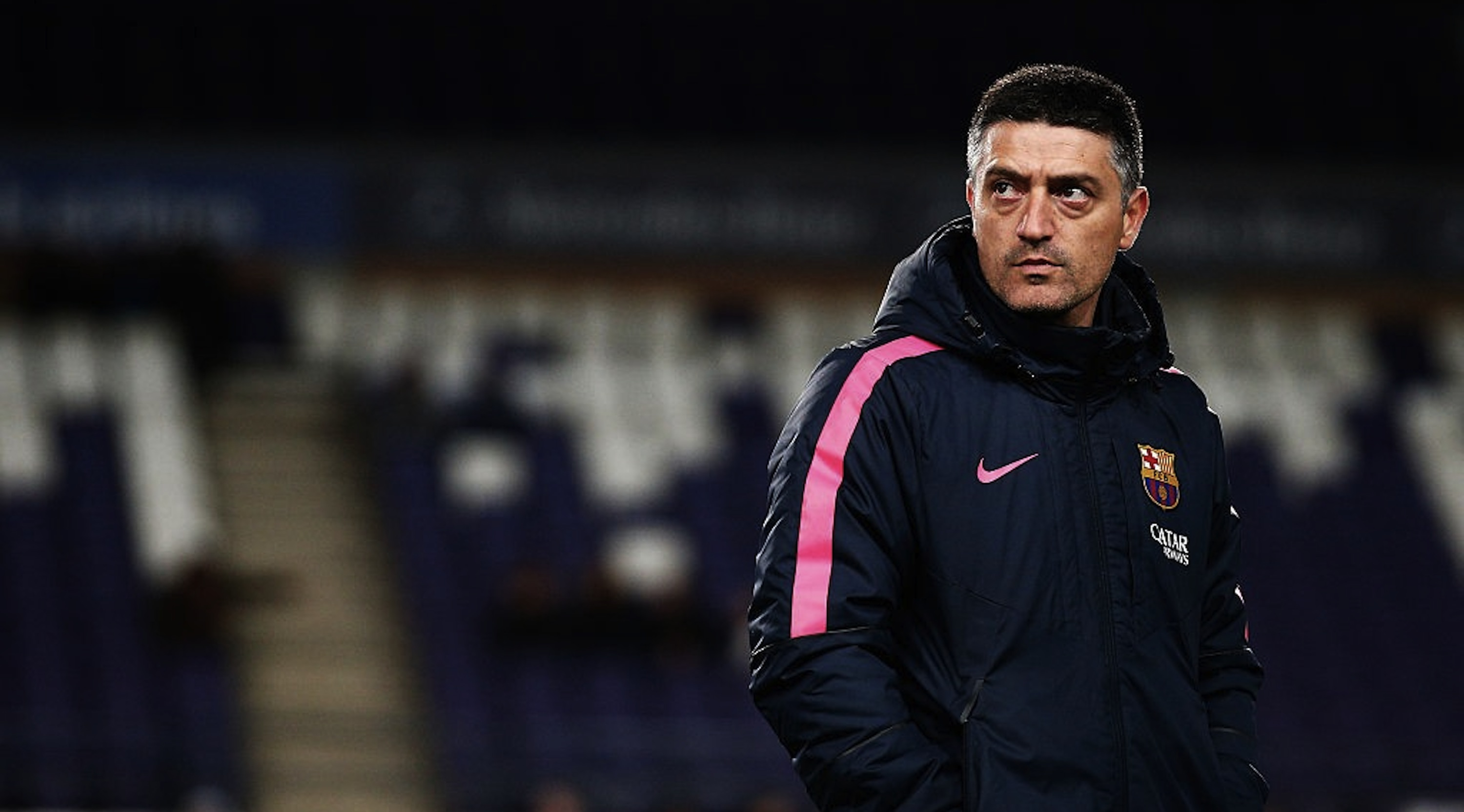 BRUSSELS, BELGIUM - FEBRUARY 23: Barcelona Coach, Francisco Javier Garcia Pimienta looks on prior to the UEFA Youth League Round of 16 match between RSC Anderlecht and FC Barcelona held at at Constant Vanden Stock Stadium on February 23, 2015 in Brussels, Belgium. (Photo by Dean Mouhtaropoulos/Getty Images)