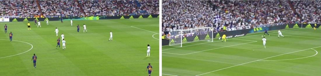 - A la izquierda, la posición retrasada de Leo Messi. A la derecha, la consecuente soledad en punta de Suárez.-