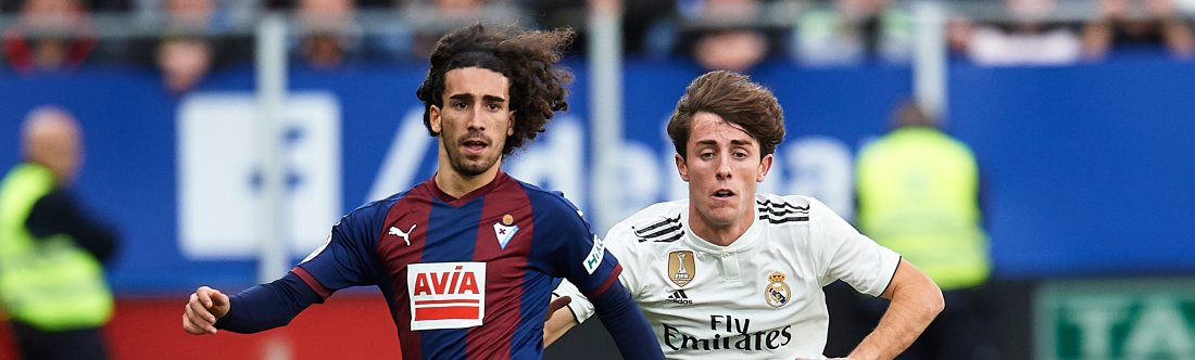 Alvaro Odriozola of Real Madrid duels for the ball with Marc Cucurella of SD Eibar during the La Liga match between SD Eibar and Real Madrid CF at Ipurua Municipal Stadium on November 24, 2018 in Eibar, Spain. (Photo by Juan Manuel Serrano Arce/Getty Images)